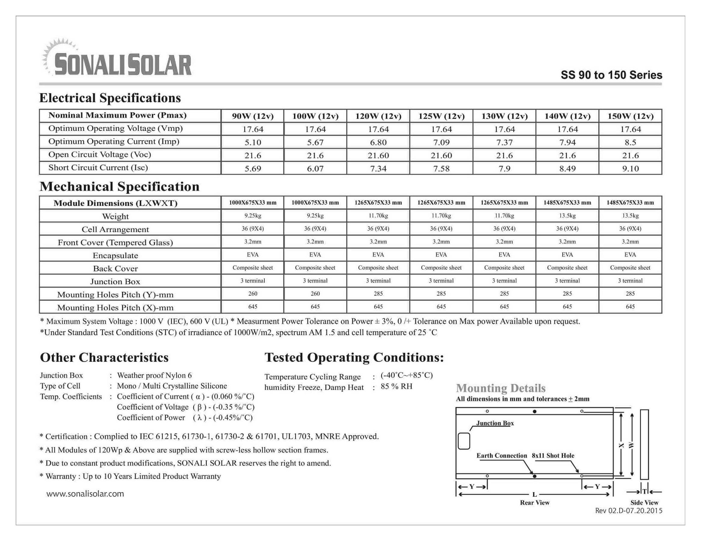 Sonali Solar 90-150W Datasheet